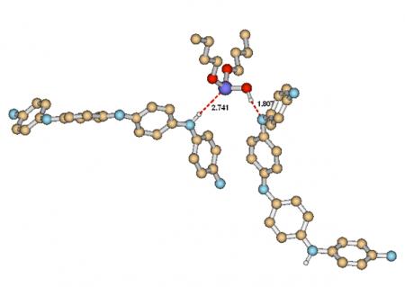 interakce mezi polyanilínovou bazí a dibutyl fosfitem